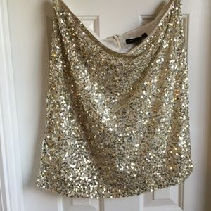 WHBM gold and silver sequin  miniskirt